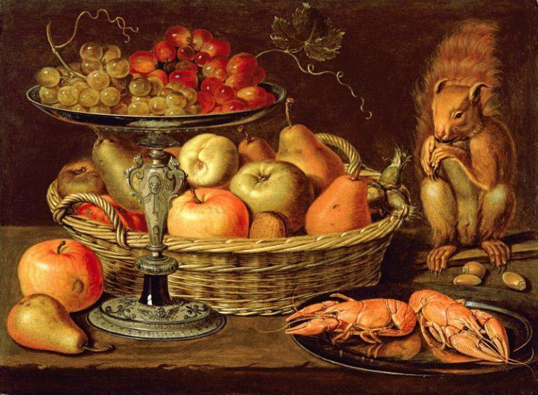 Bodegón de frutas, langostas y ardilla