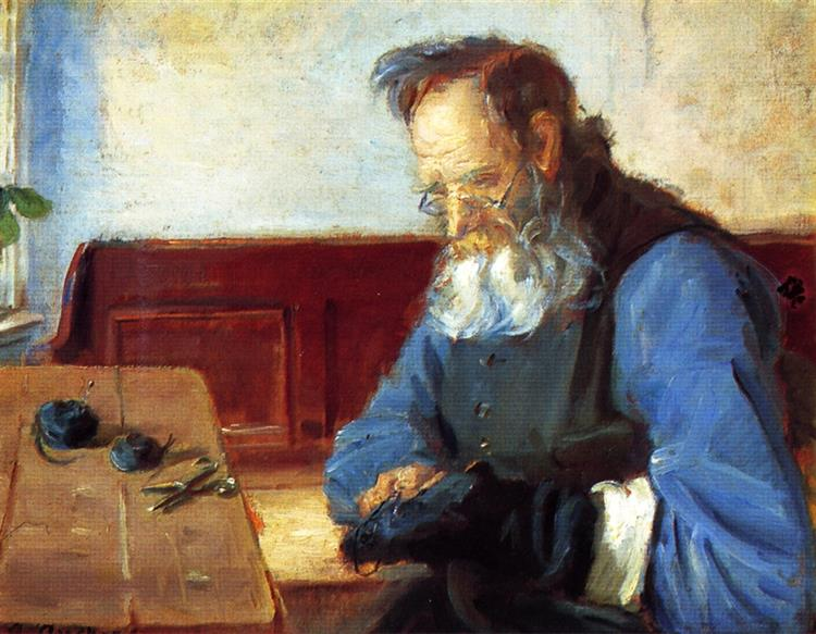 A Man Mending Socks, Anna Ancher