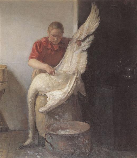 A Young Girl Plucking a Swan, Anna Ancher, 1900