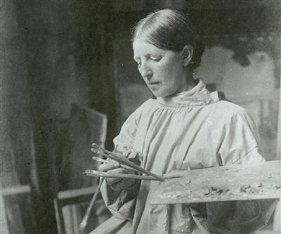 Anna Ancher en su estudio