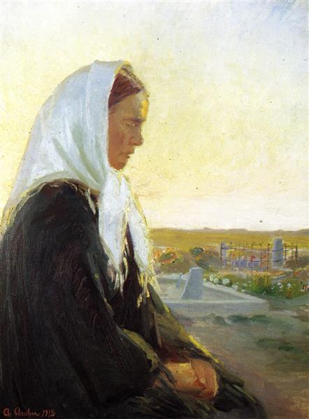At the Grave, Anna Ancher, 1913