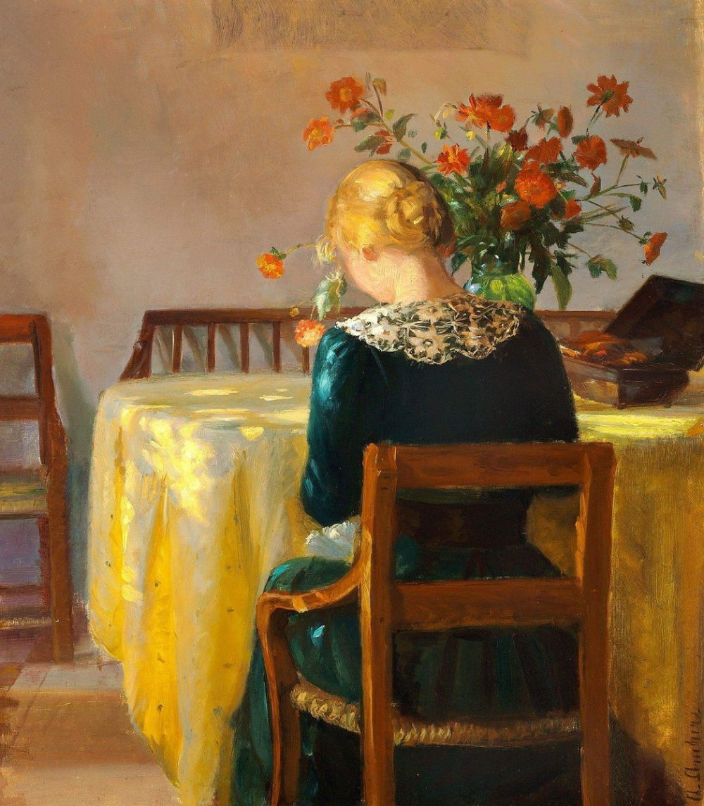 Anna Ancher, Interior con la hija del pintor Helga Sewing , 1890