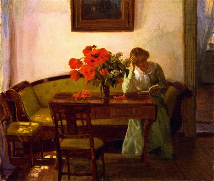 Interior with Red Poppies, Anna Ancher, 1905