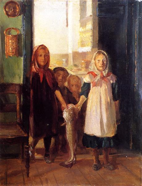 Little Girls with a Cod, Anna Ancher