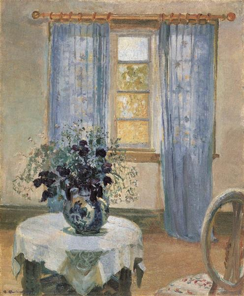 Living Room with Lilac Curtins and Blue Clematis, Anna Ancher, 1913