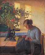 Anna Ancher, Esposa de pescador cosiendo , 1890