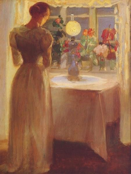 Young Girl Before a Lit Lamp, Anna Ancher, 1887