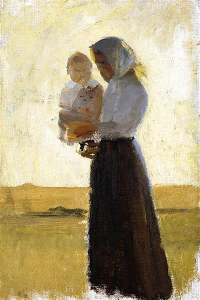 Young Woman with Her Child on Her Arm, Anna Ancher, 1900-05